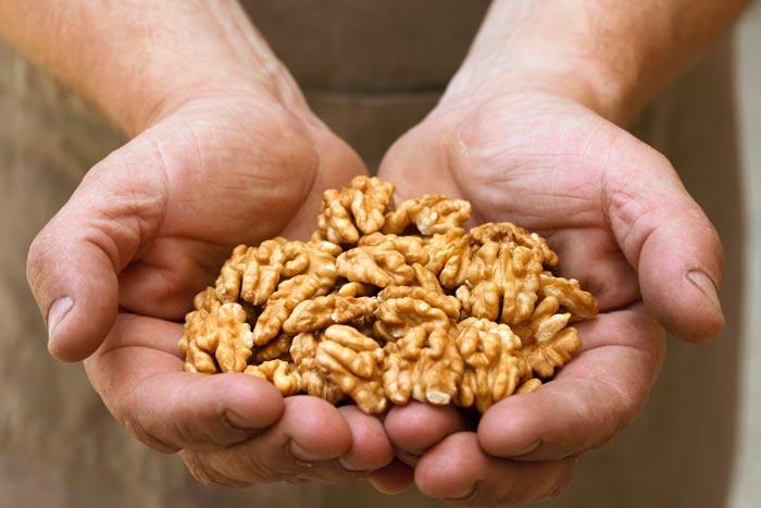 орехи в руках